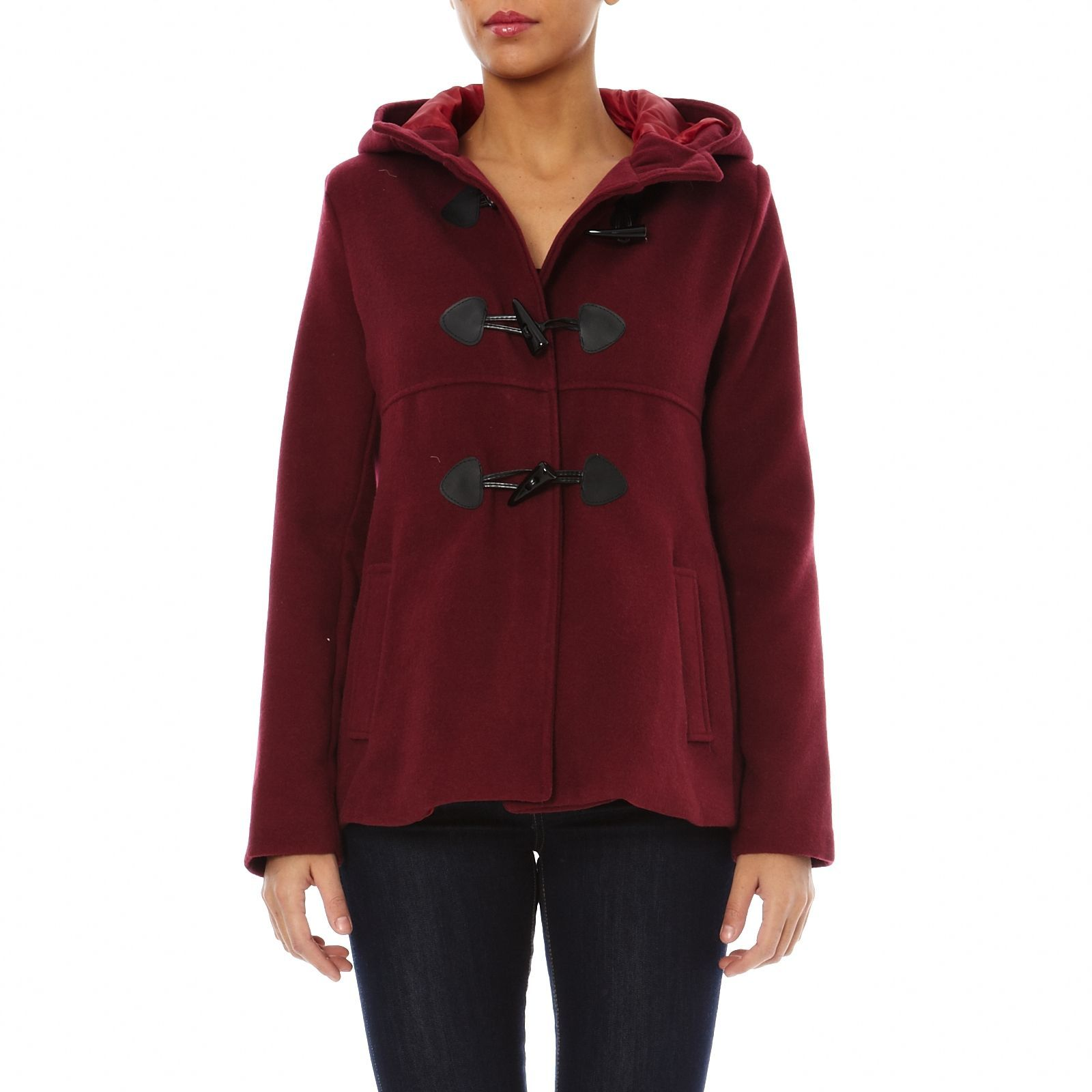 Duffle-coat court bordeaux