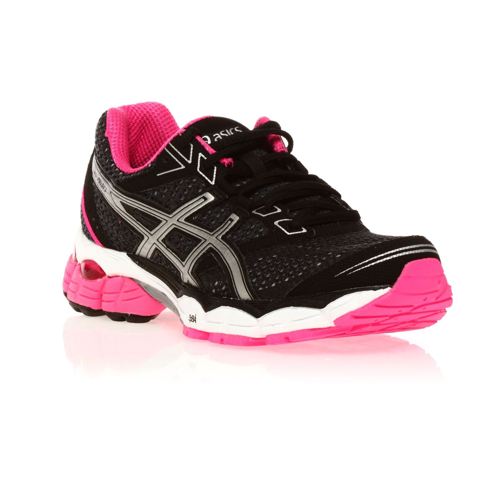 asics gel pulse 5 baskets noir et rose brandalley. Black Bedroom Furniture Sets. Home Design Ideas