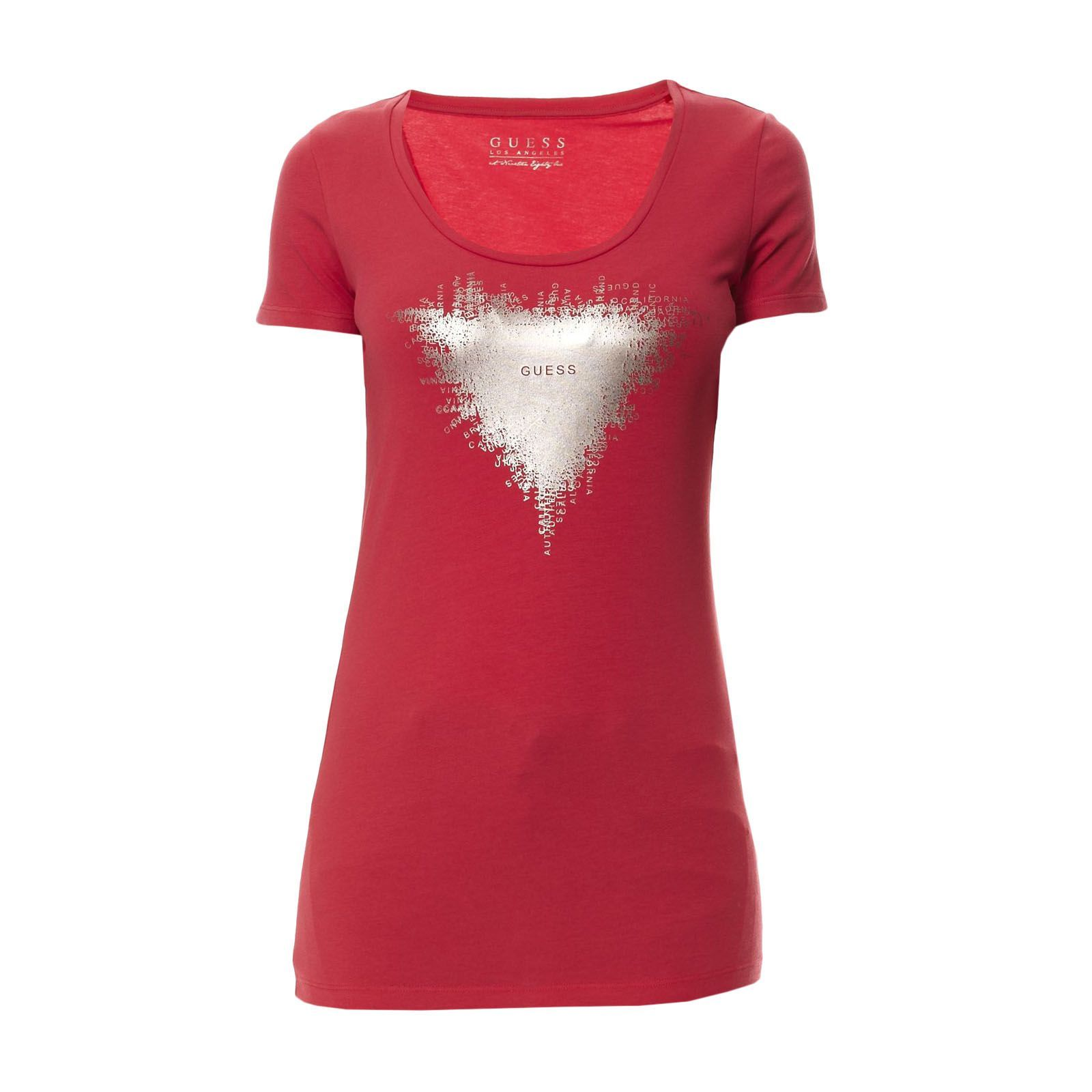 Guess :  T-shirt Triangle framboise