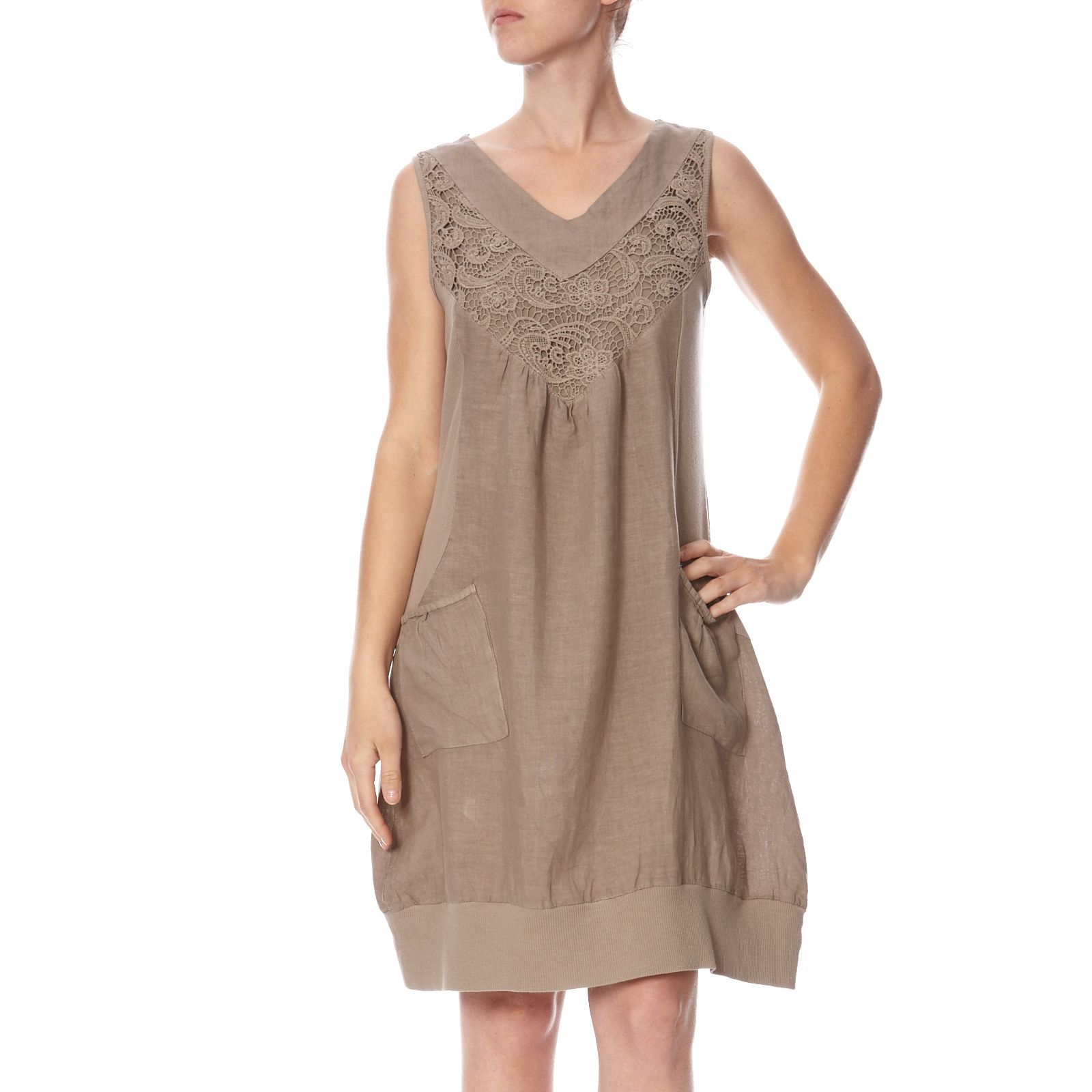 100% Lin robe taupe