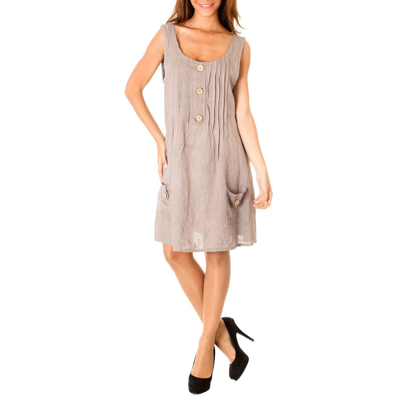 100% Lin robe - taupe