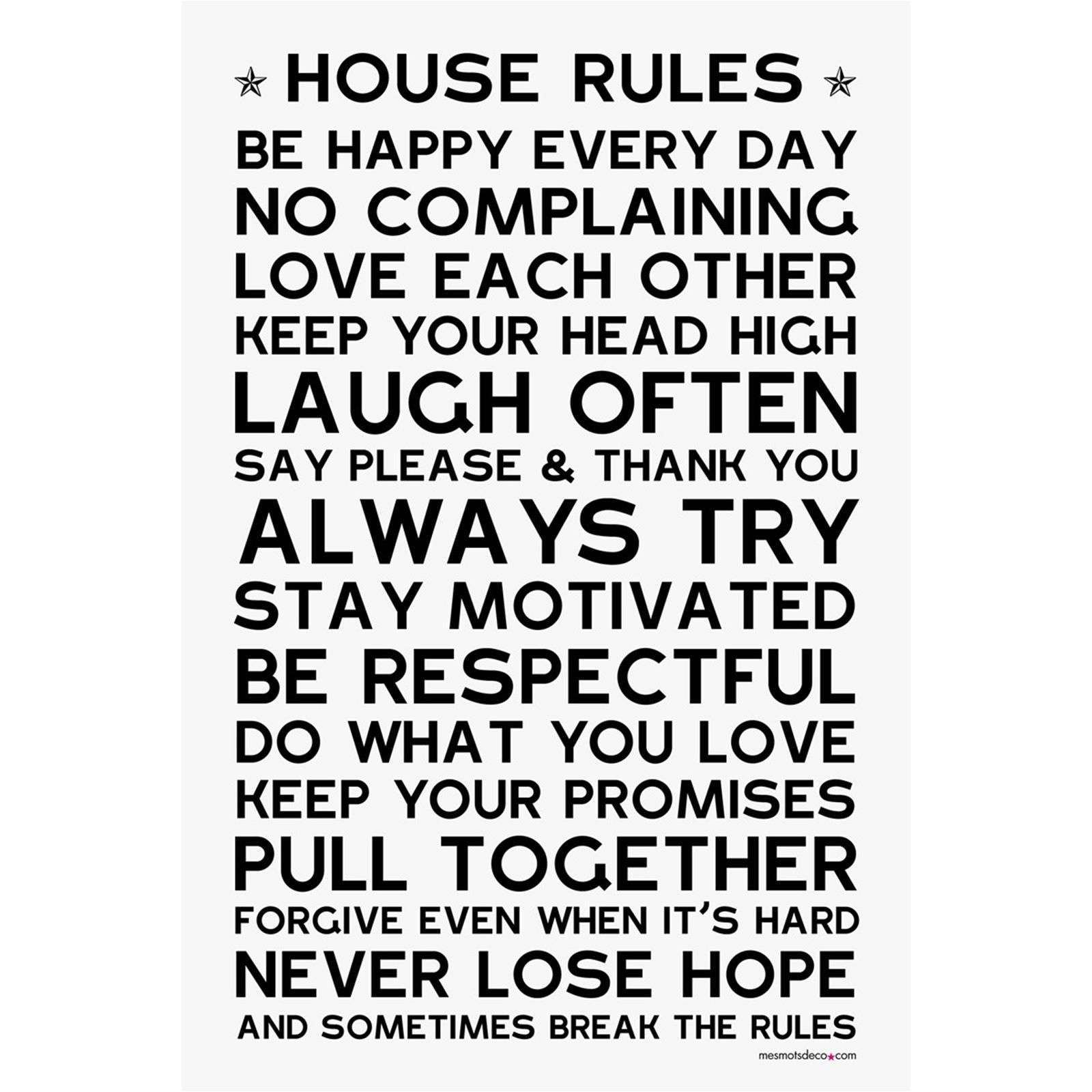 mes mots d co house rules sticker en papier blanc brandalley. Black Bedroom Furniture Sets. Home Design Ideas