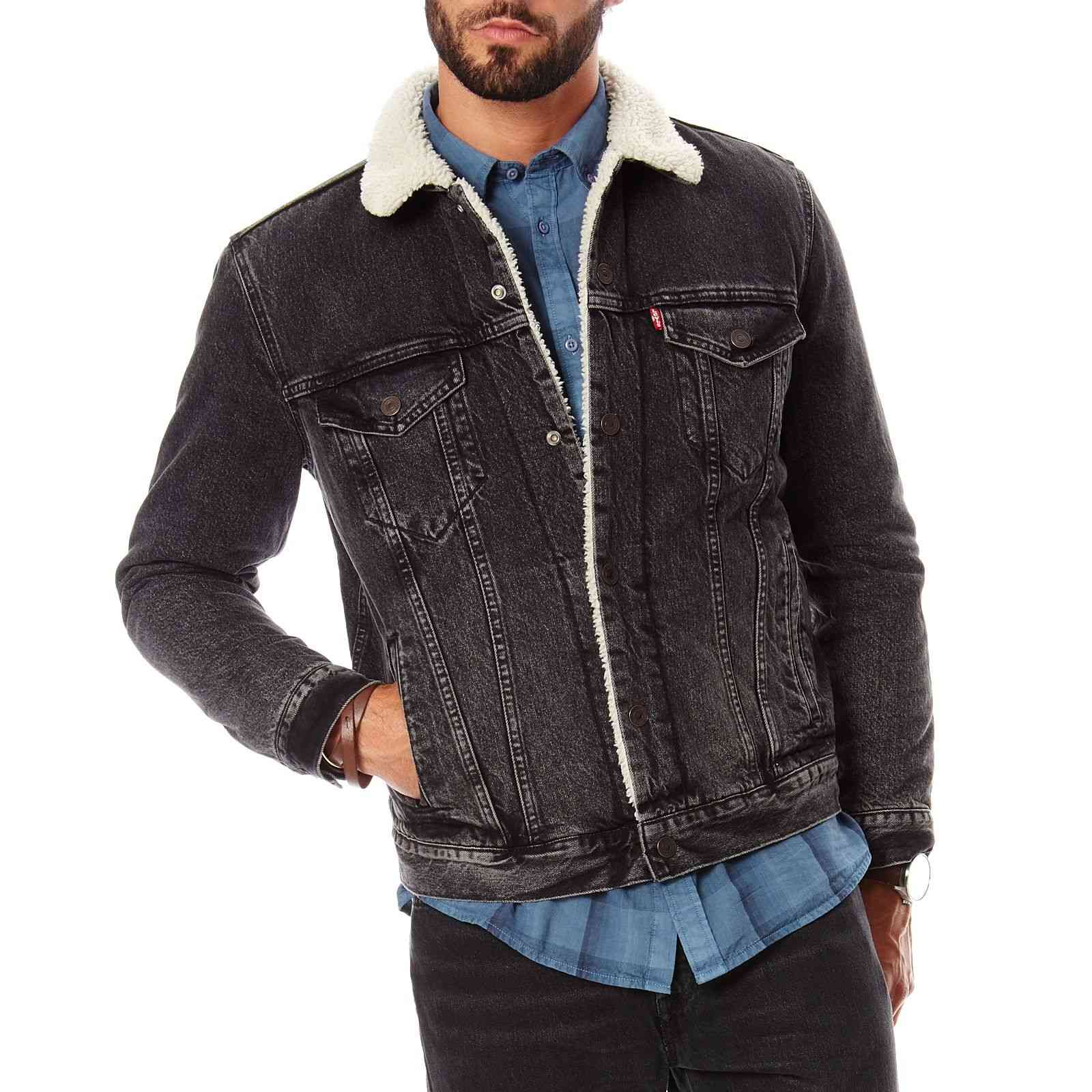levi 39 s sherpa trucker jeansjacke schwarz brandalley. Black Bedroom Furniture Sets. Home Design Ideas