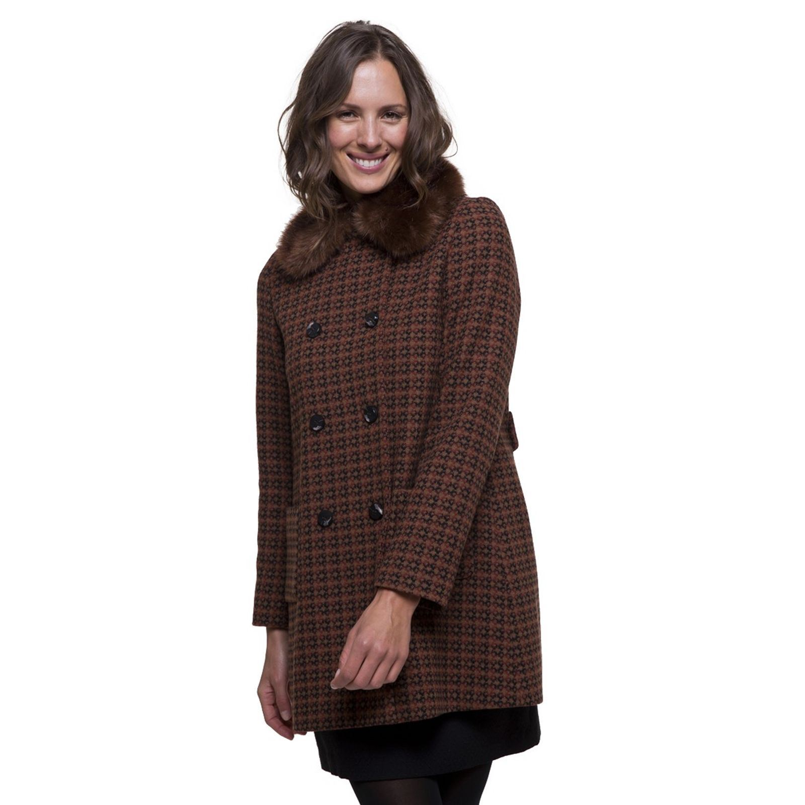 And Manteau Laine Trench En Melangee FourrureMulticolore Femme V Coat Imitation WHDIE29