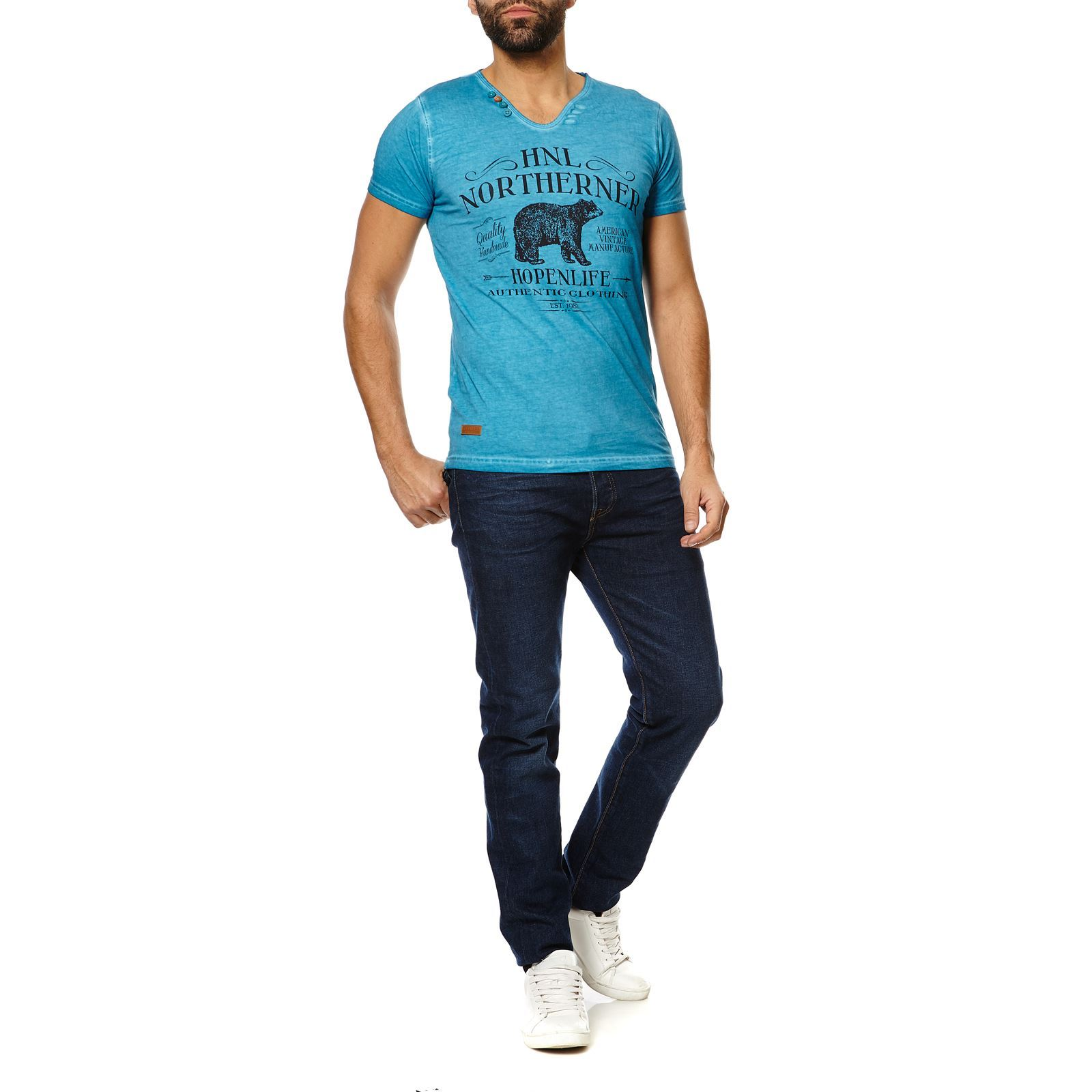 AdemarT Life shirt Manches Hope Courtes N Turquoise Homme V bf76gy