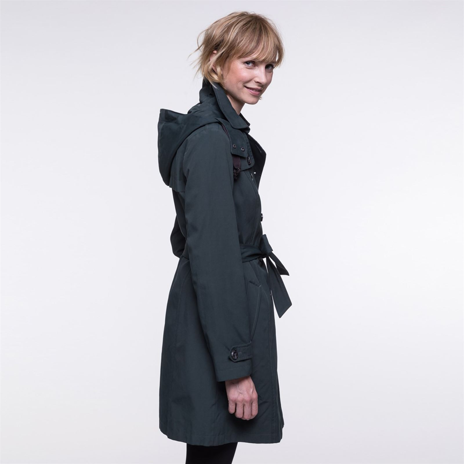 a AmovibleVert Femme And Capuche V Coat Trench T1c3JKFl