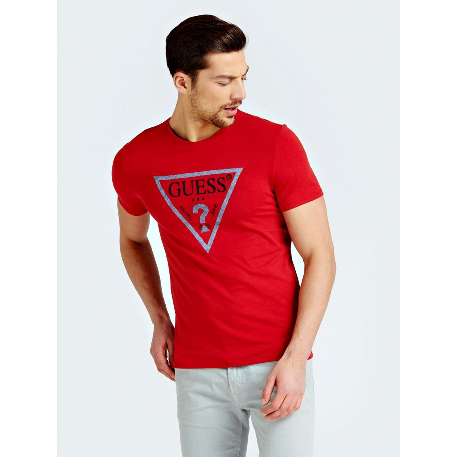 CourtesRouge T Guess shirt V Manches Homme 0wOmvN8n