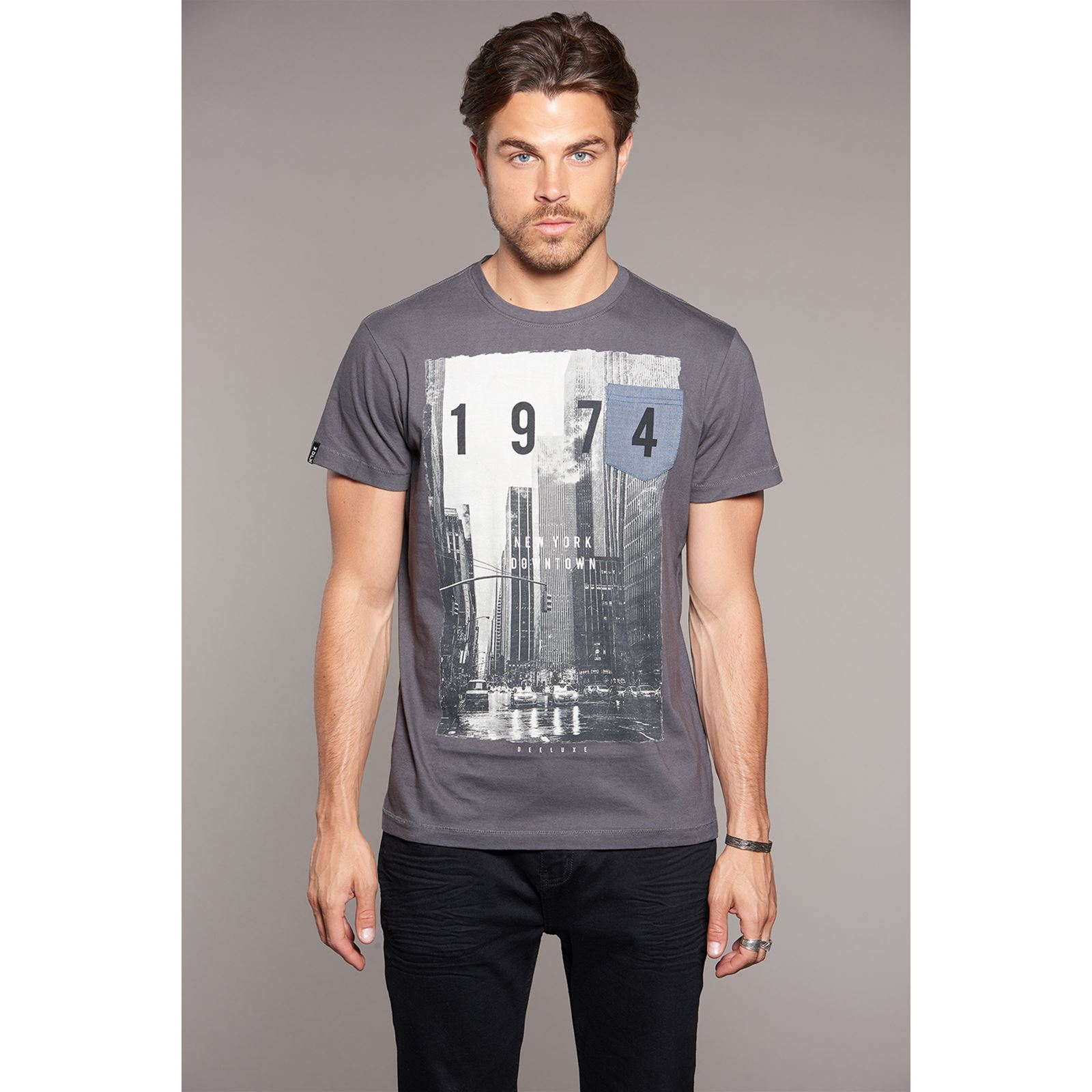 DowntownT Manches Gris Fonc Deeluxe Courtes shirt l3FT1JKc