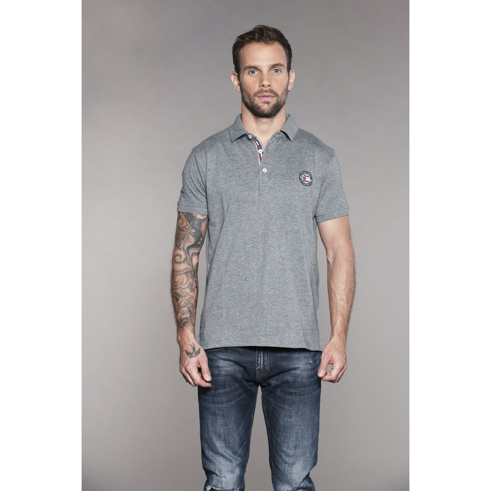 V SomethingPolo Souris Homme Courtes Deeluxe Manches Gris OZiTPukX