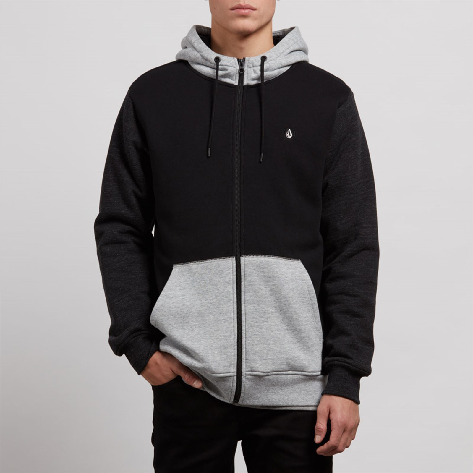 Capuche Noir Stn Homme Sngl a V Lined ZipSweat Volcom EDIYHW92