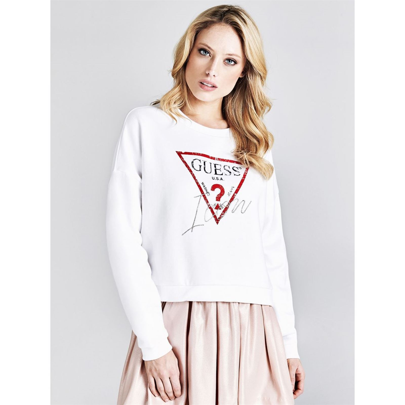 V Sweat Femme LogoBlanc Femme Guess Guess Sweat Sweat Guess LogoBlanc V LogoBlanc N0OX8nwkZP
