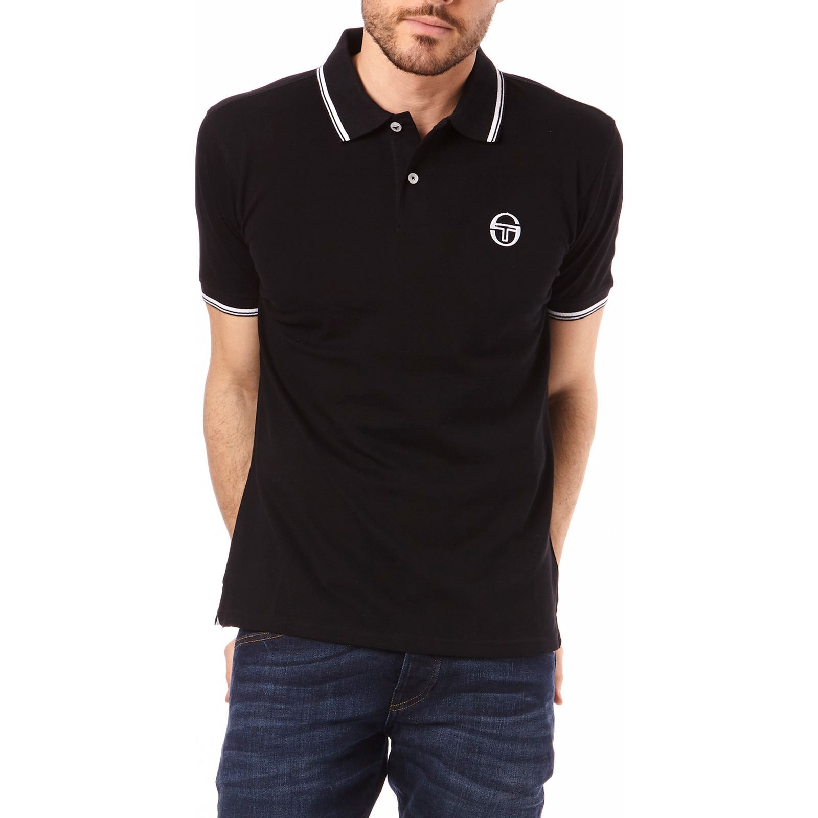 Homme Sergio Manches TacchiniPolo V Courtes Noir TF1lKJc