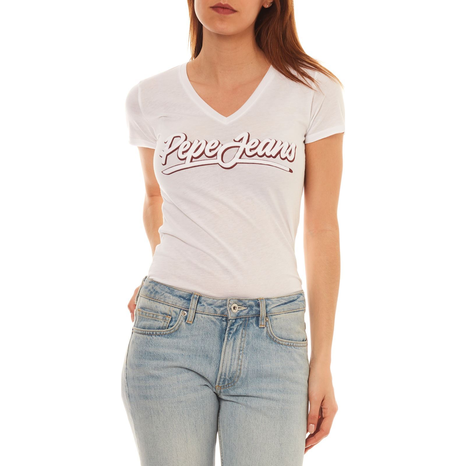 Femme LizT Courtes Jeans London shirt Manches Blanc V Pepe HeEDbY2W9I