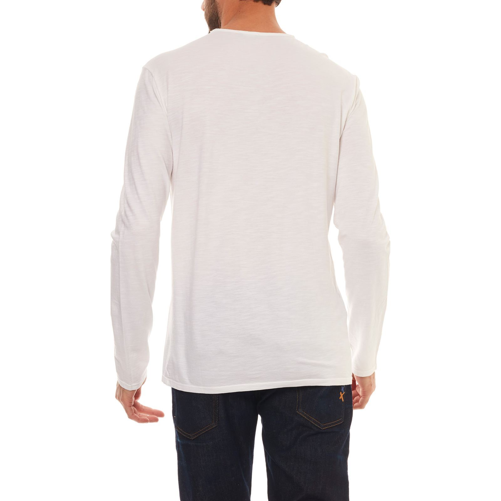 Manches Benetton T Homme shirt V LonguesBlanc PkuOXZiT