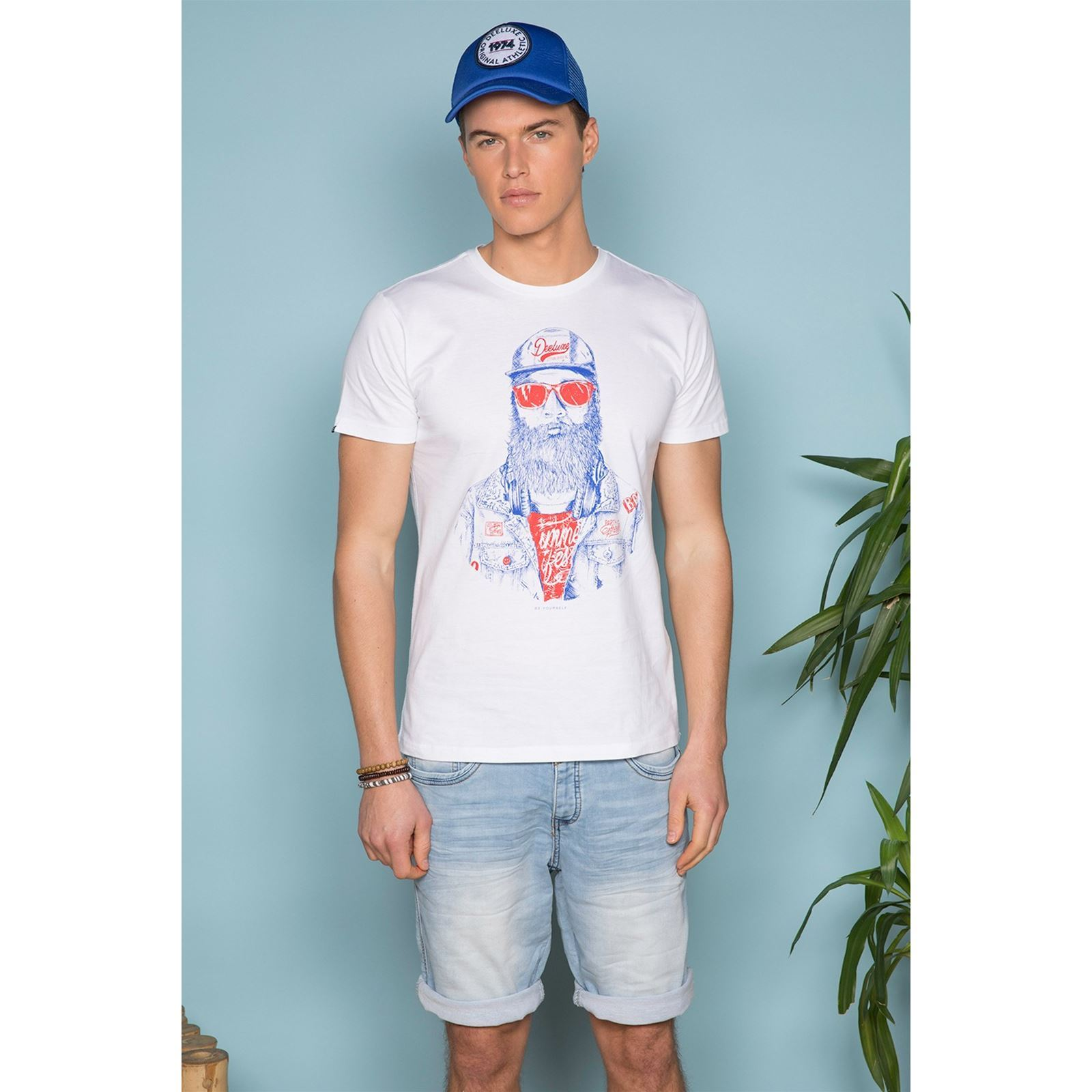 V Manches Homme Deeluxe Courtes TellonT Blanc shirt OPm80wnyvN