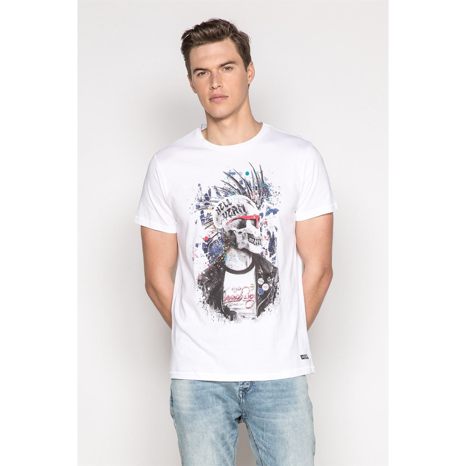 Courtes shirt Manches Blanc Deeluxe V Homme EnfieldonT 35RqAL4j