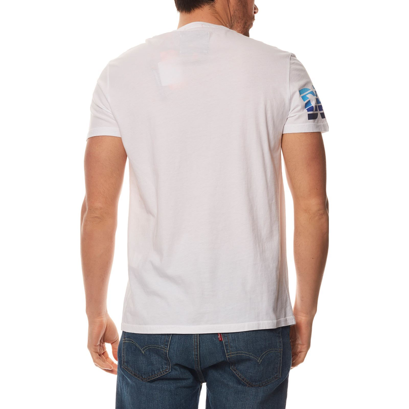 T Manches Superdry V CourtesBlanc shirt Homme W2HEID9Y