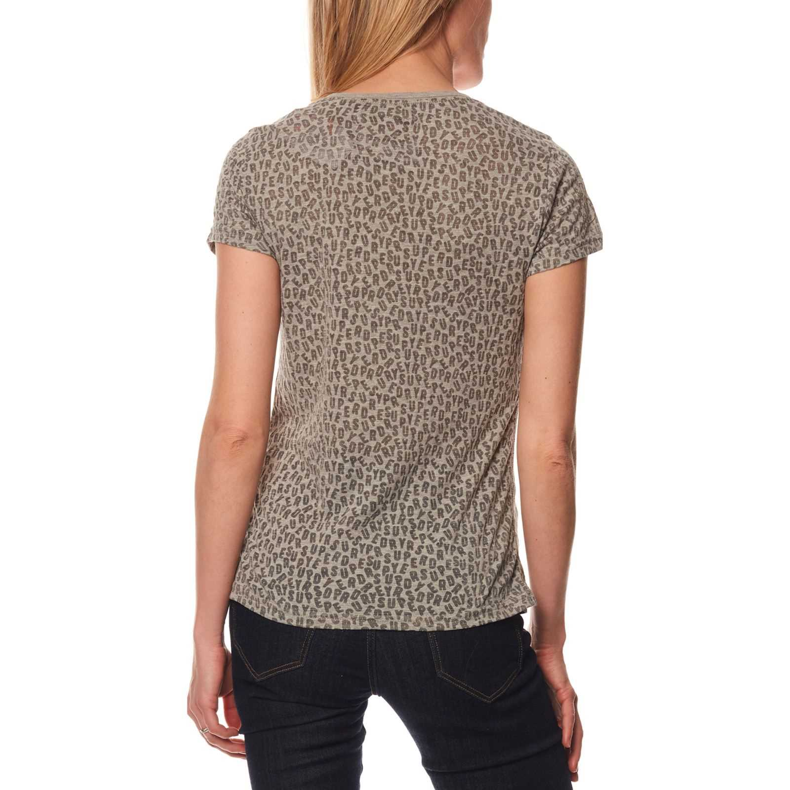 T shirt Femme Manches Chine V CourtesGris Superdry SUpzVGMq