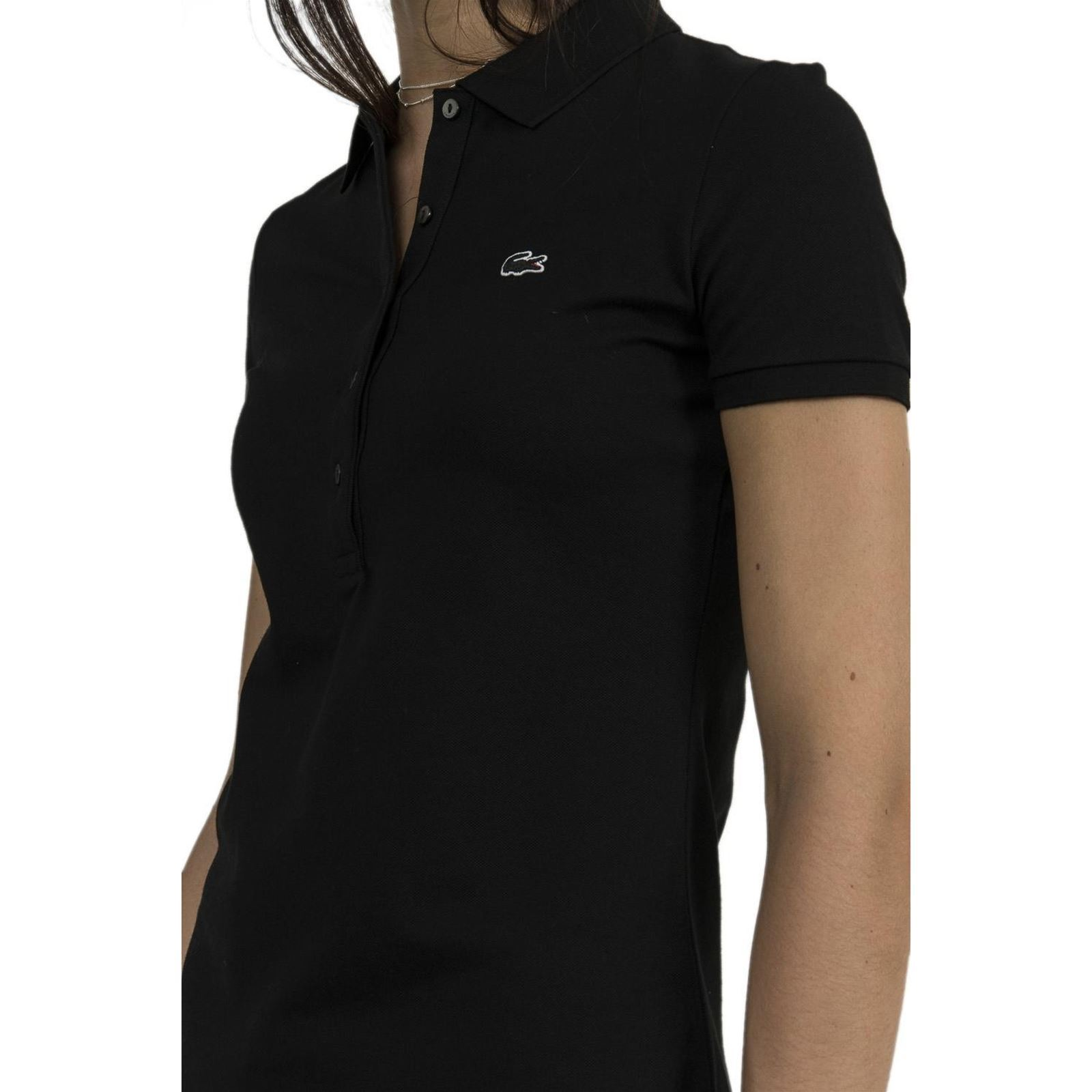 Noir Femme V Lacoste Manches Courtes Pf7845Polo EHD9I2W