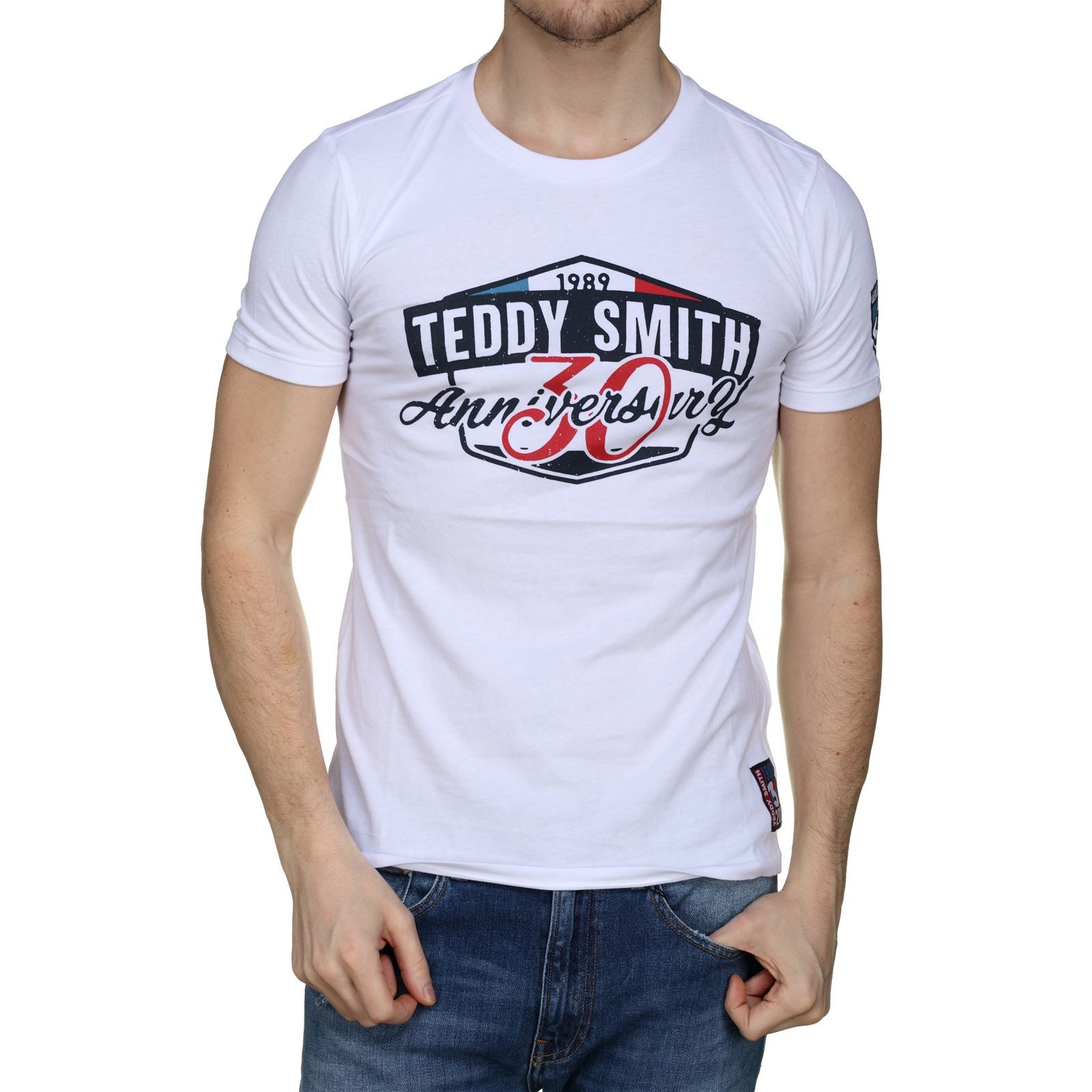 Homme V T Blanc Smith Courtes Manches Teddy McT30 shirt 11013980d bfvY76yg