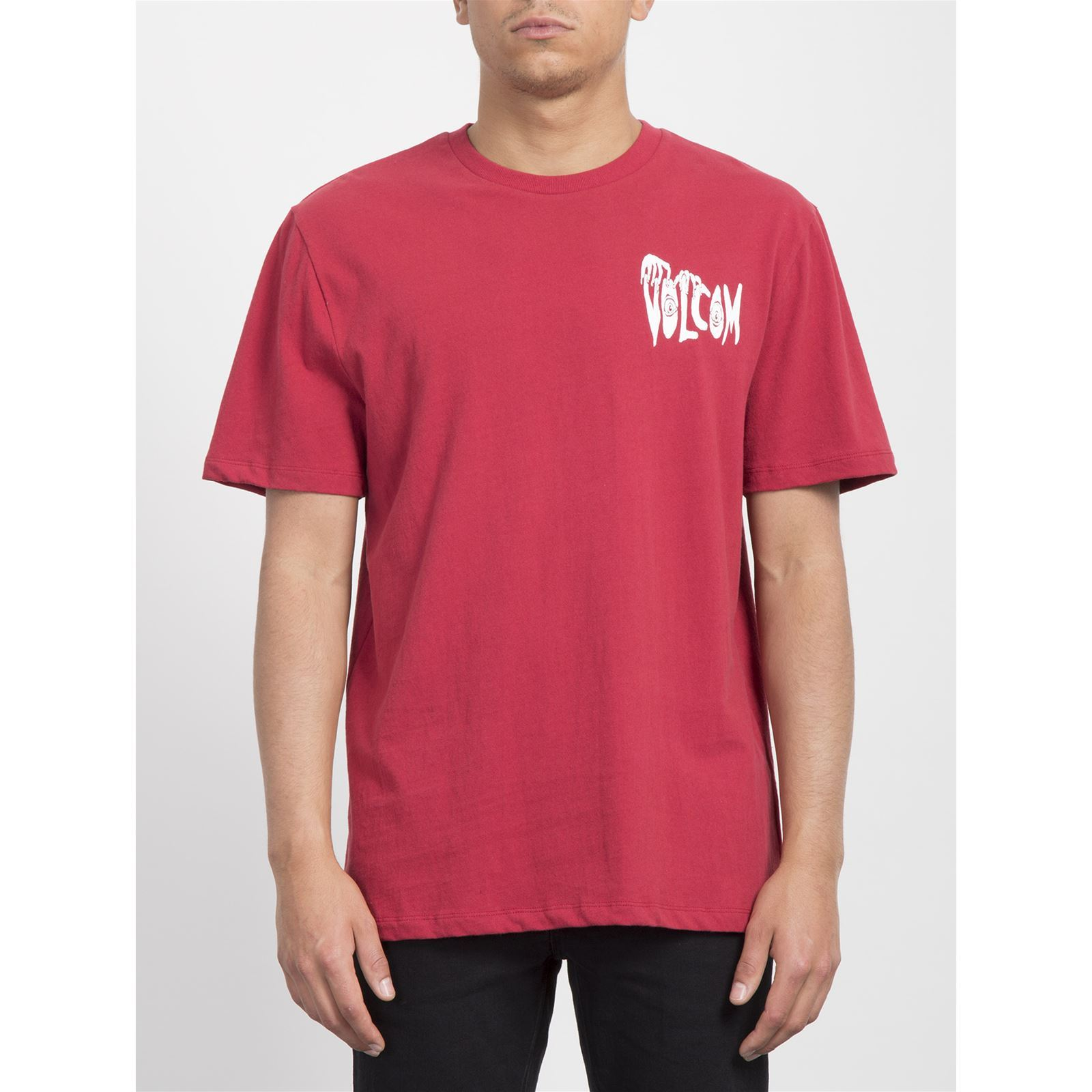 shirt BxyT Homme Panic Volcom V Courtes Manches Rouge WIEH9eDYb2