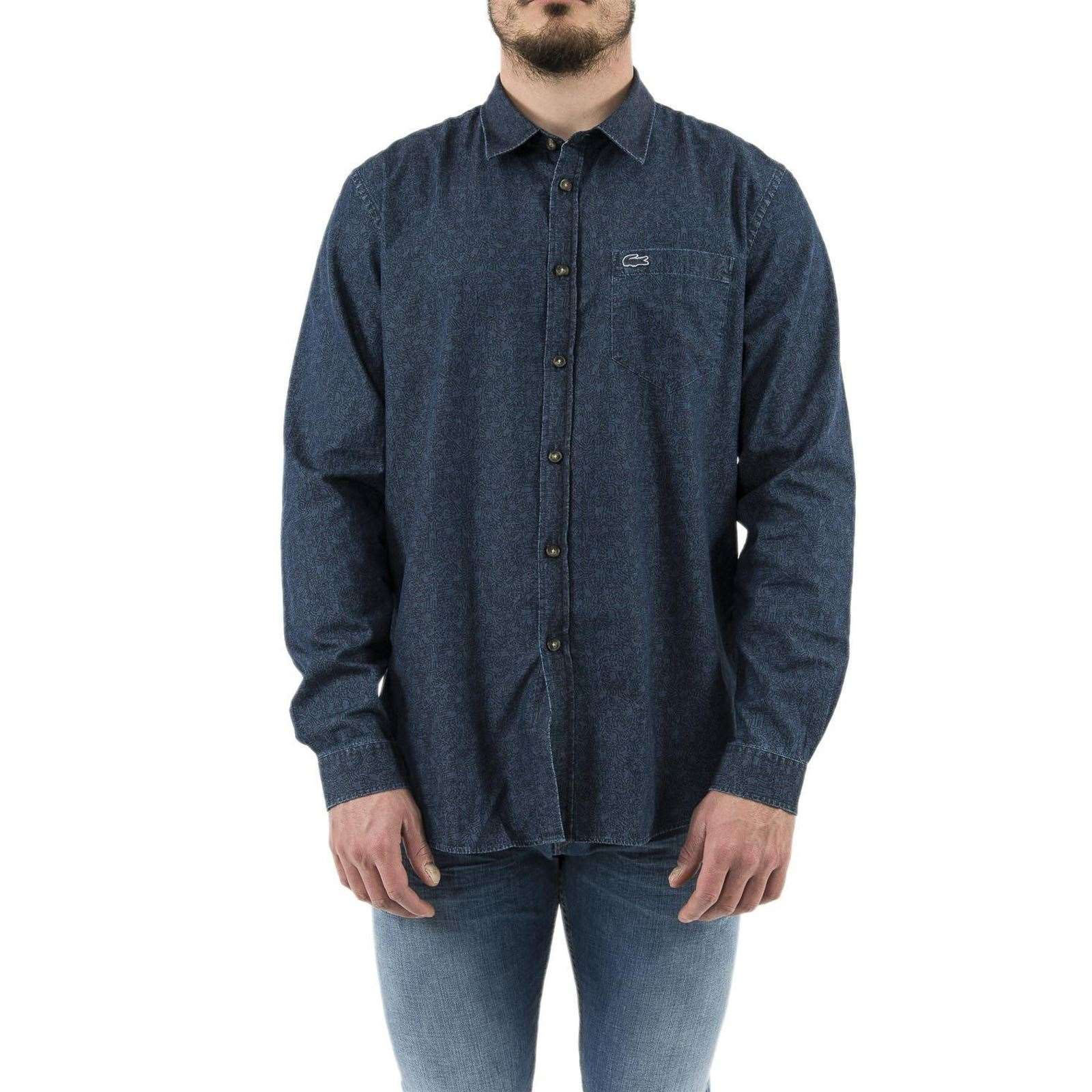 Homme Ch4884Chemise V Bleu Manches Longues Lacoste ZiTlwPkuOX