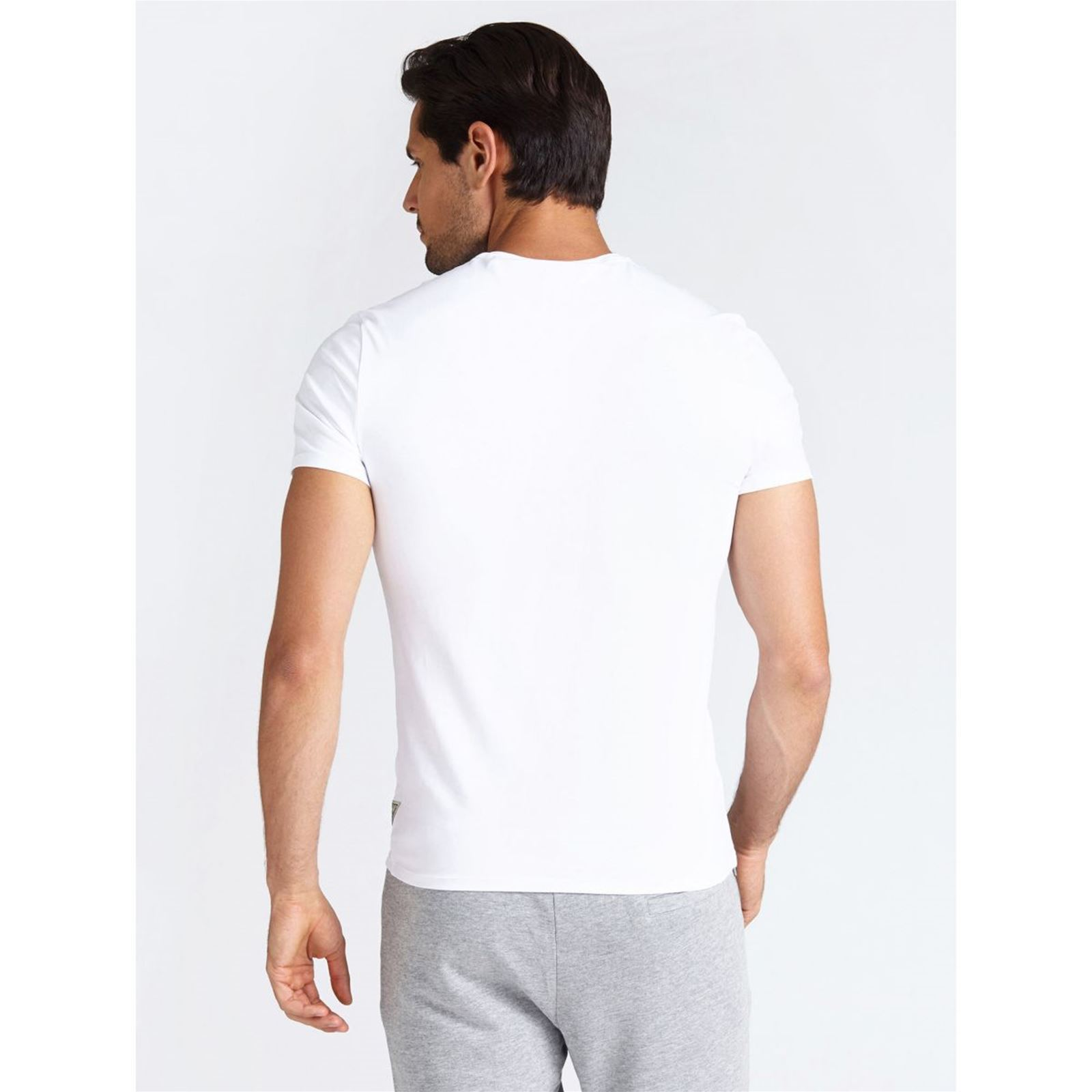 T shirt Manches V CourtesBlanc Homme Guess hdxrtsQC