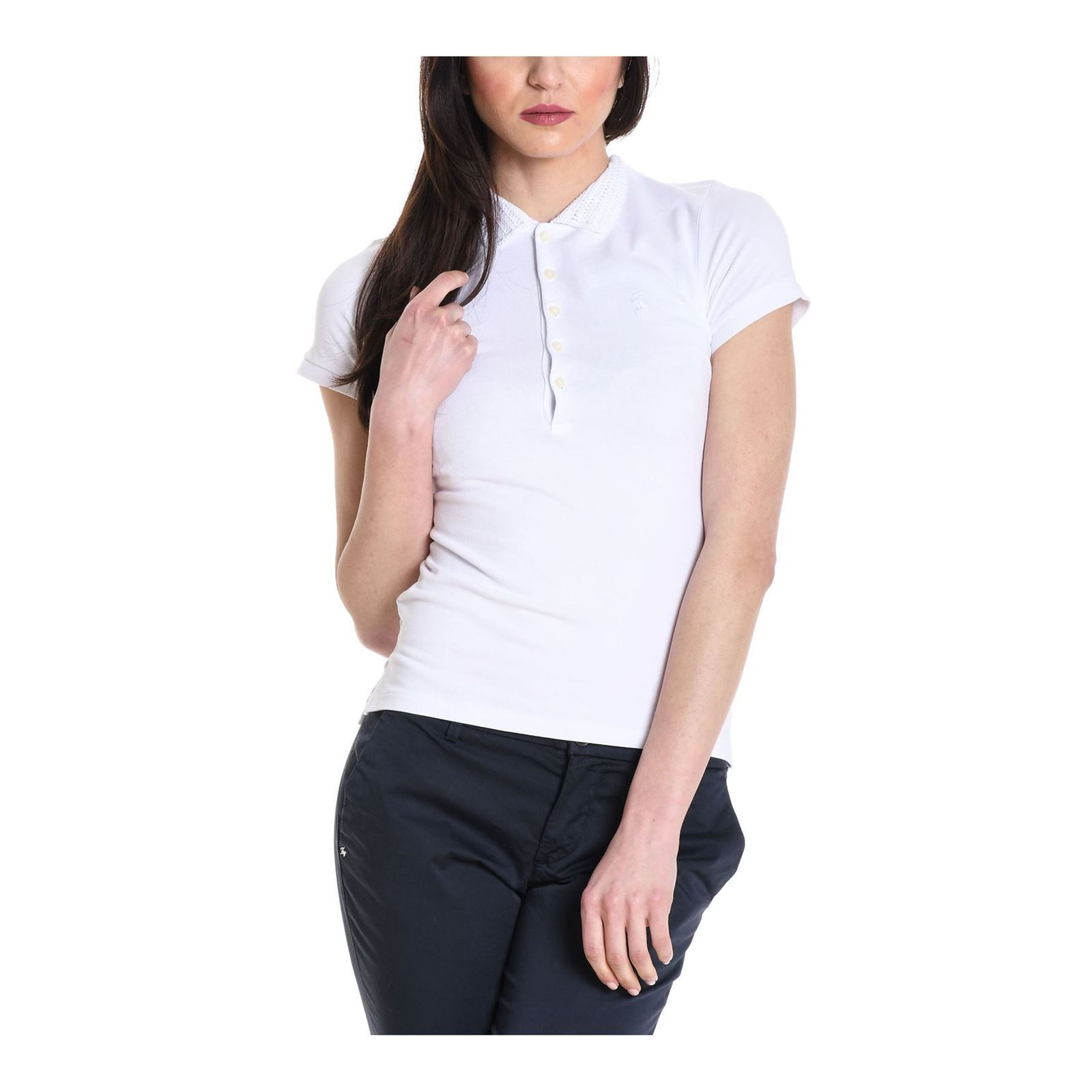 Manches CourtesBlanc V Ralph Polo Femme Lauren HIYED2W9