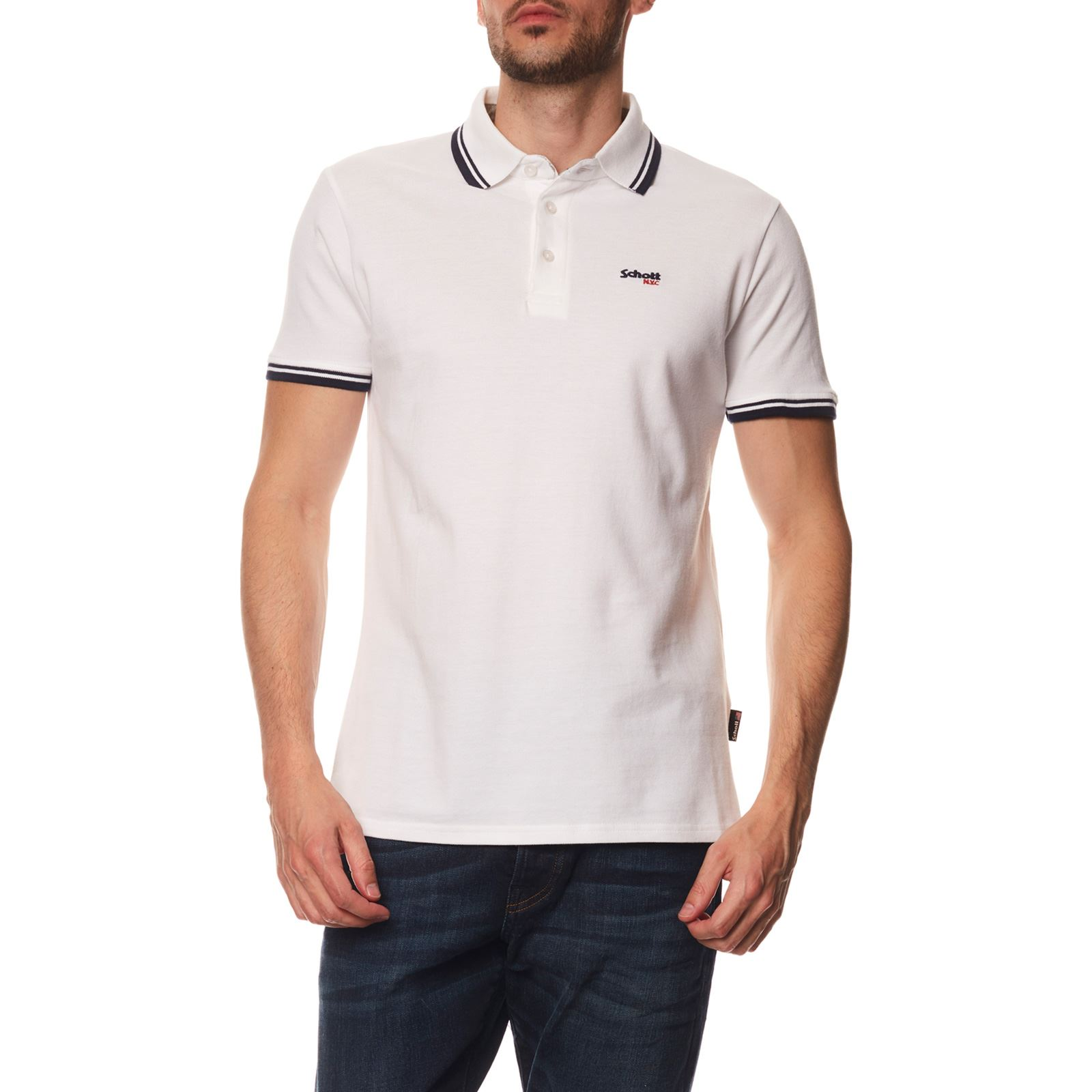 Schott Manches CourtesBlanc Homme V Polo xCedBroW