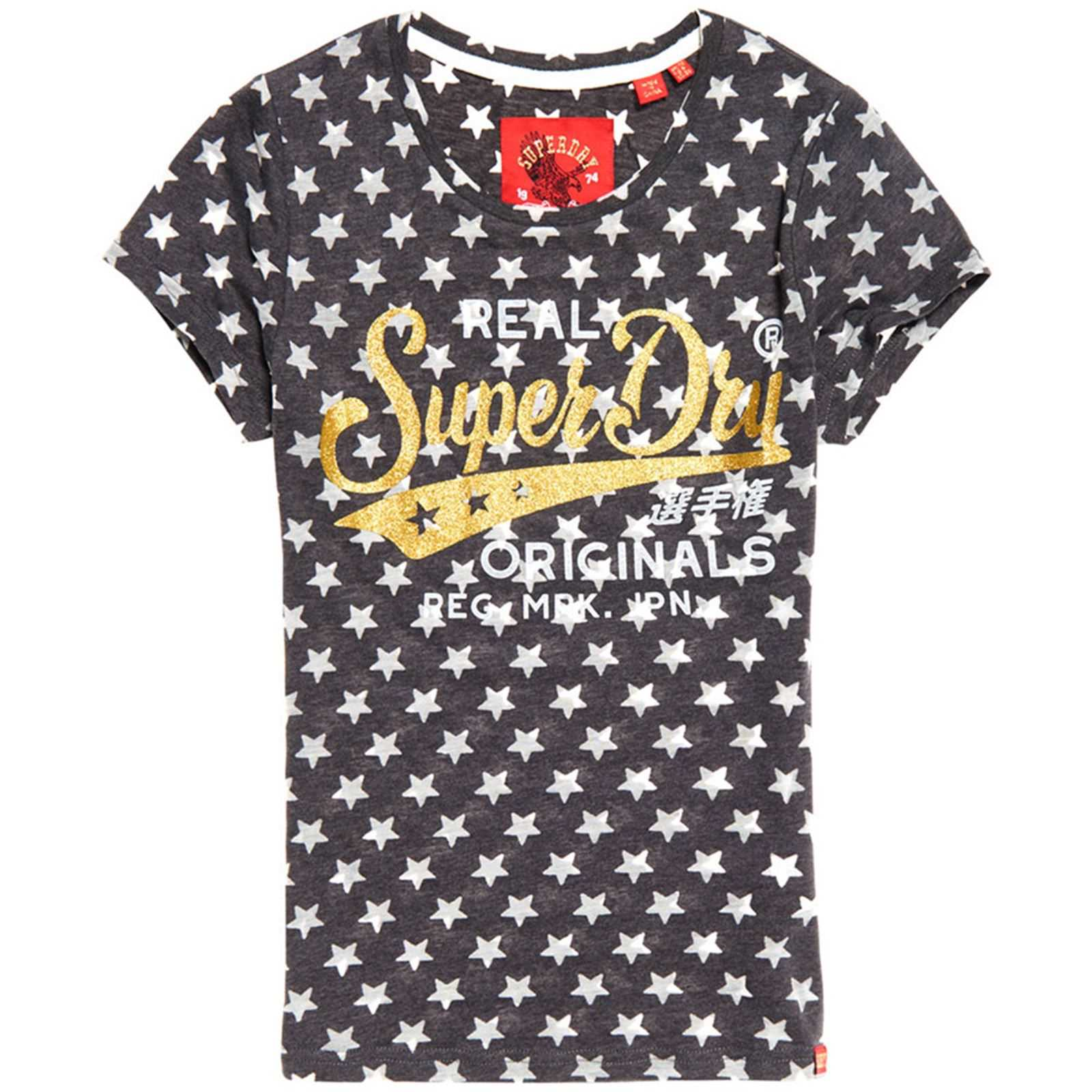 V Manches CourtesGris T shirt Superdry Femme 6fgb7y