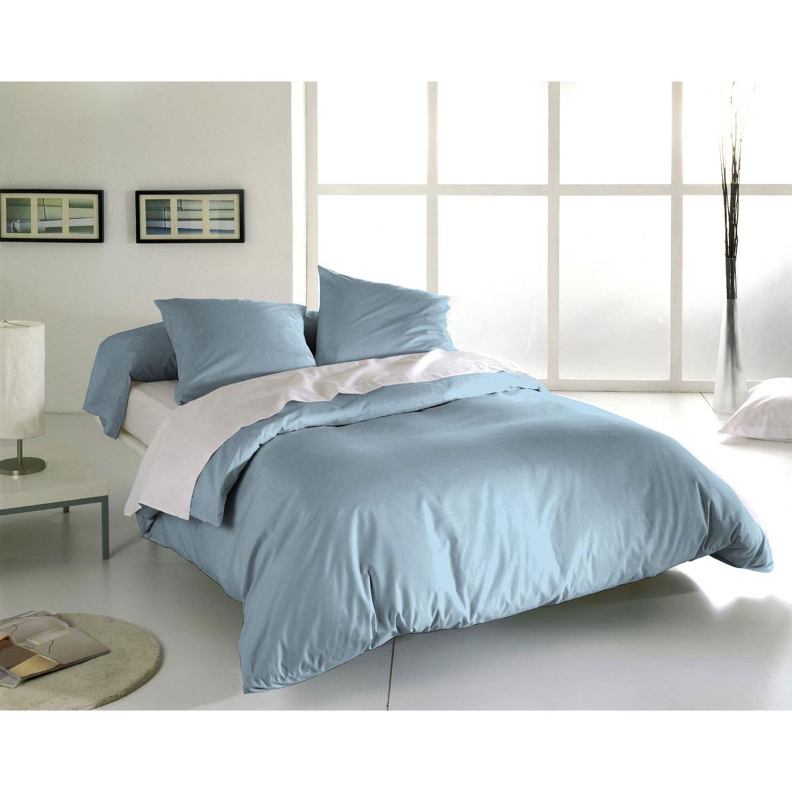 blanc d agate ensemble housse de couette et taies bleu ciel brandalley. Black Bedroom Furniture Sets. Home Design Ideas
