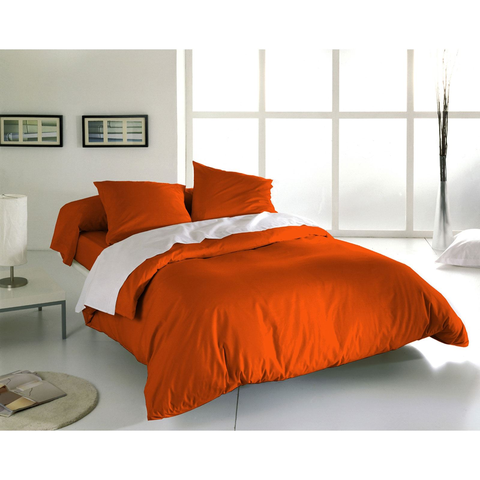 Blanc d agate ensemble housse de couette et taies orange for Ensemble couette
