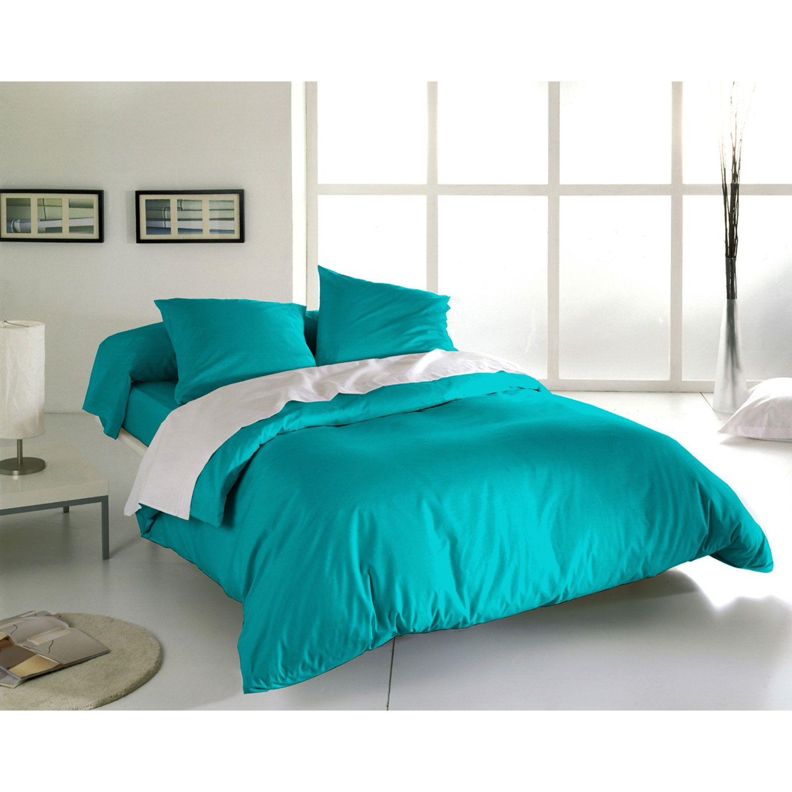 blanc d agate ensemble housse de couette et taies turquoise brandalley. Black Bedroom Furniture Sets. Home Design Ideas