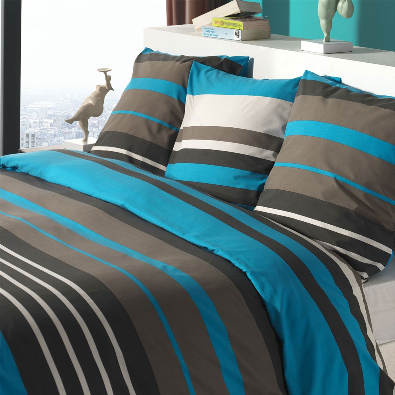 blanc d agate nuance housse de couette taie turquoise brandalley. Black Bedroom Furniture Sets. Home Design Ideas