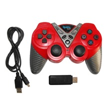 Manette de jeu sans fil 2,4 Ghz 6 axes rouge et argent pour Playstation 3 - HobbyTech