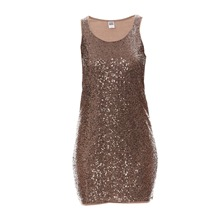 Robe mini sequins taupe