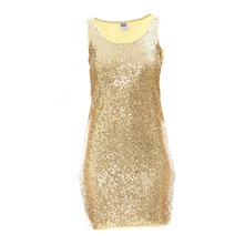 Robe mini sequins jaune paille