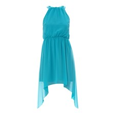 Robe en voile asymtrique turquoise