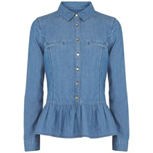 Blue Denim Peplum Shirt