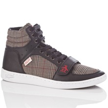 Men footwear: Black Obby Hi-Top Leather Trainers