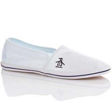 Men footwear: White Steve Slip-on Plimsolls