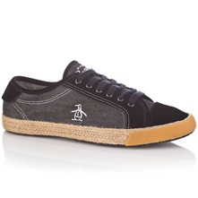 Men footwear: Black Randy Lace Plimsolls