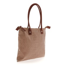 Sac cabas taupe aspect reptile