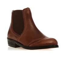 Bottines en cuir marron Sylvie