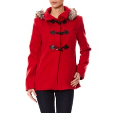 Manteau en laine mlange rouge