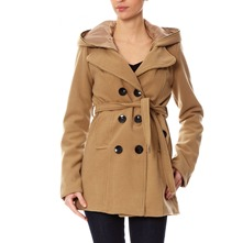 Manteau en laine mlange camel