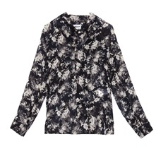 Blouse Penny fleurie en soie noire