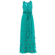 Robe longue en soie chiffon vert meraude