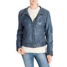 Veste en cuir indigo