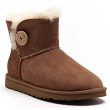Boots Mini Bailey Button en cuir velours camel